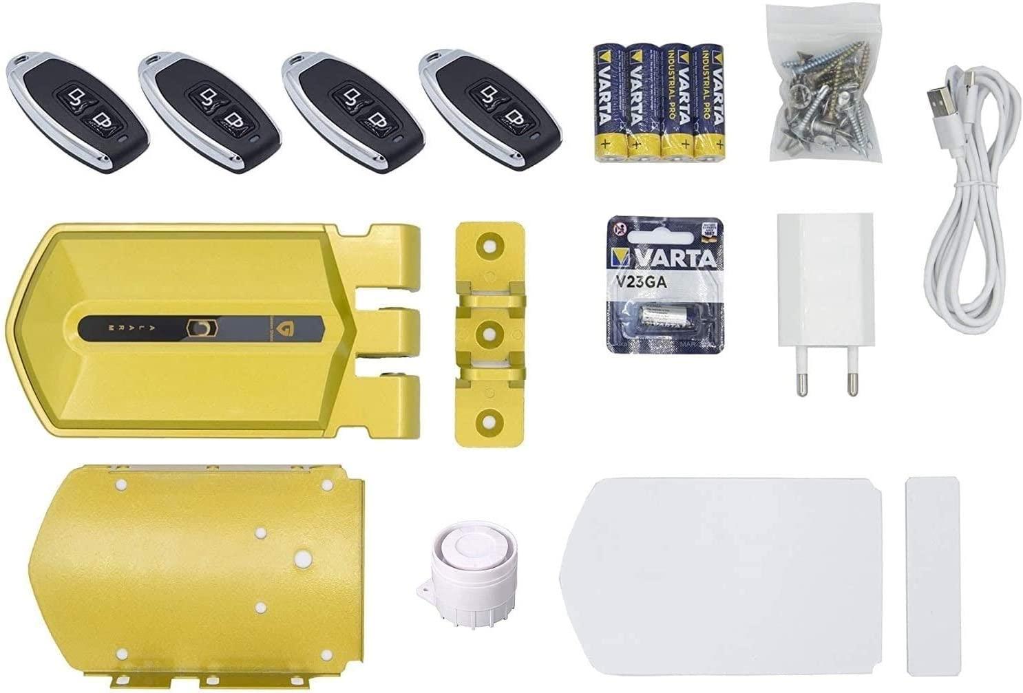 Cerradura invisible dorada con alarma 120db